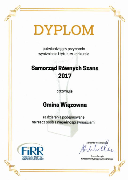 Dyplom Samorząd Równych Szans 2017