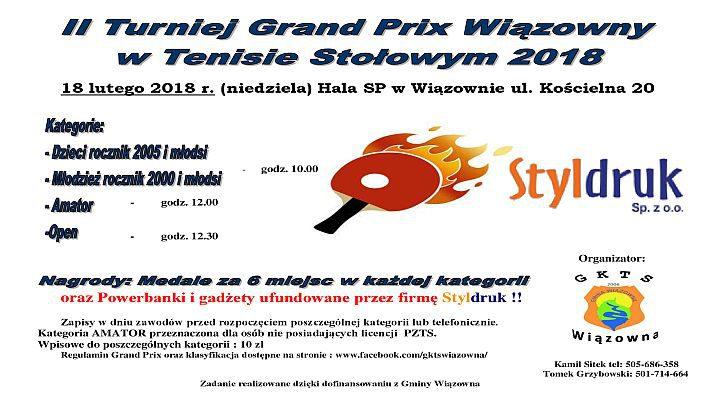 II Turniej Grand Prix Wiązowny w Tenisie Stołowym