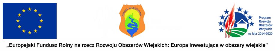 Logo PROW. Od lewej: flaga Unii Europejskiej, herb gminy Wiązowna, logo akcji