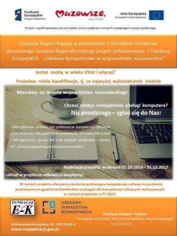 Plakat promujący bepłatne szkolenia komputerowe