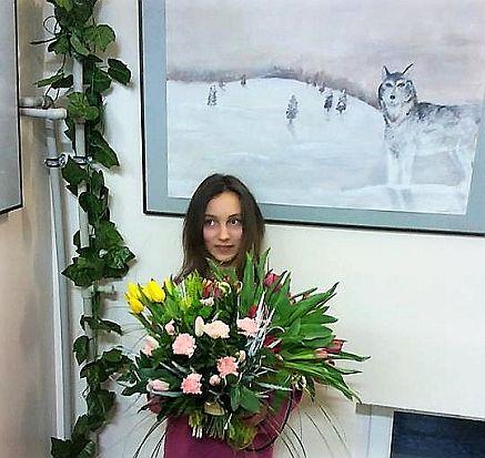 Wernisaż wystawy młodej malarki z Wiązowny w Bibliotece Powiatowej w Otwocku
