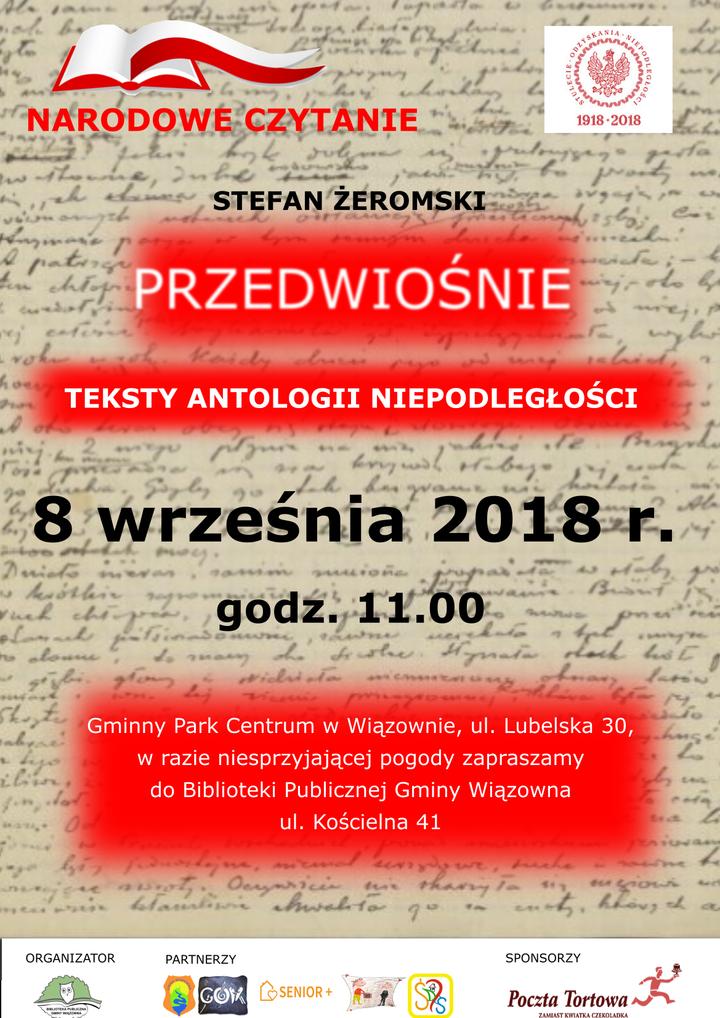 8 września: Narodowe Czytanie 2018 w Wiązownie