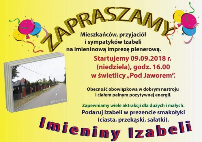 zaproszenie na Imieniny Izabeli