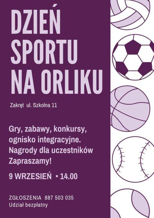 Plakat Dzień Sportu na Orliku