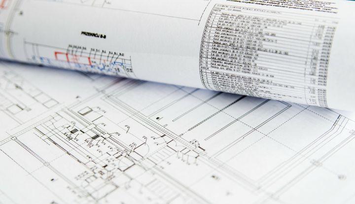Zrolowane plany architektoniczne
