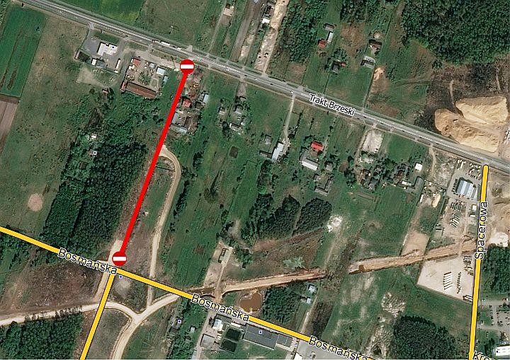 mapka objazdu A2 i Duchnów