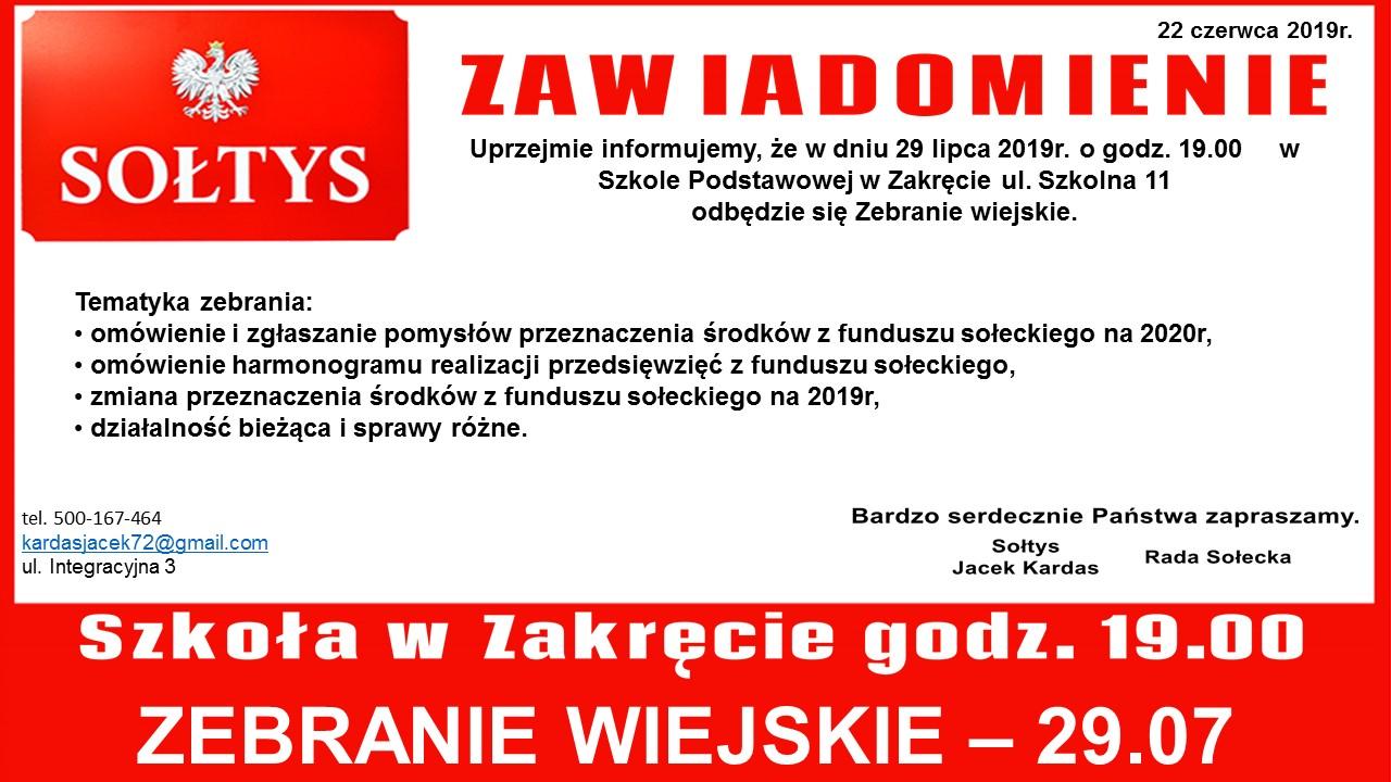 Plakat informujący o zebraniu w sołectwie Zakręt