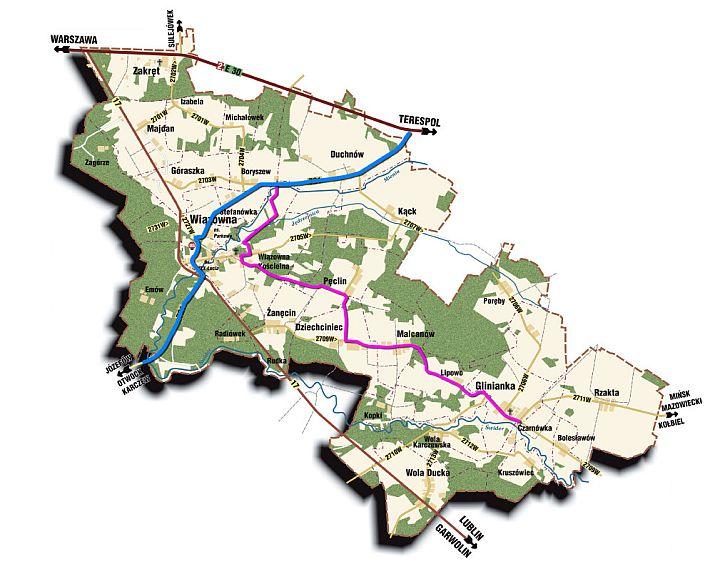 Mapa planowanych ścieżek rowerowych w gminie Wiązowna