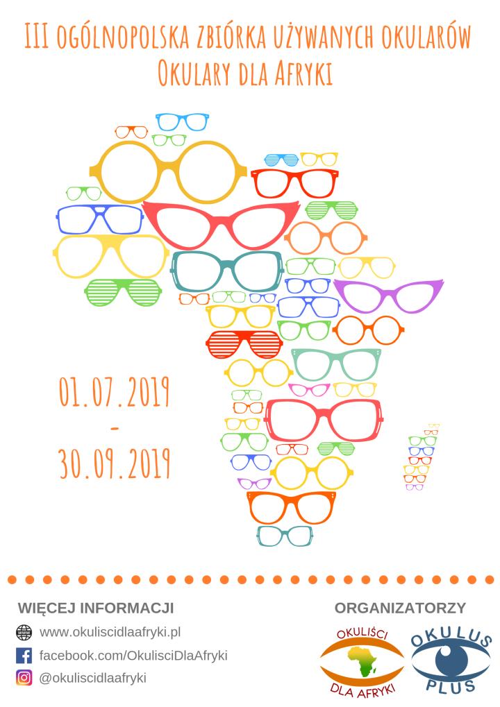 Plakat akcji Okulary dla Afryki informujący o zbiórce używanych okularów w całej Polsce. Na plakacie kształt afryki ułożony jest o różnokolorowych okularów