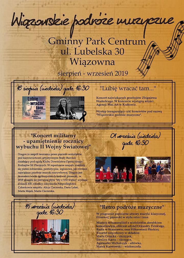Plakat Wiązowskich podróży muzycznych czyli cyklu koncertów