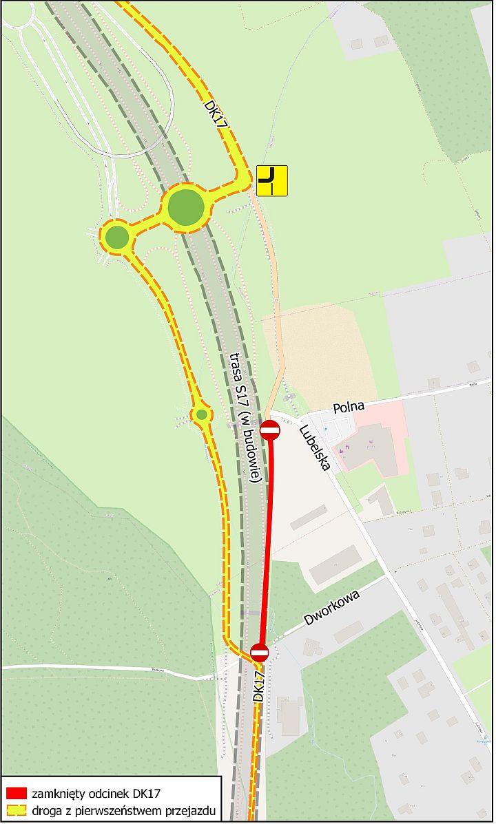Mapa zmian na trasie S17
