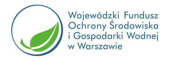Logo WFOŚiGW w niebieskim kręgu zielony listek