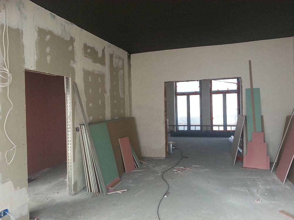 Budowa Centrum Aktywności Lokalnej. Pomieszczenie na parterze.