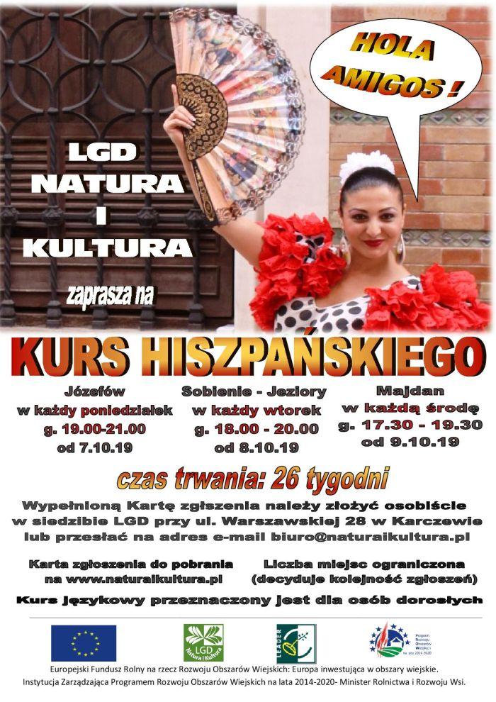 Plakat informujący o kursie języka hiszpańskiego