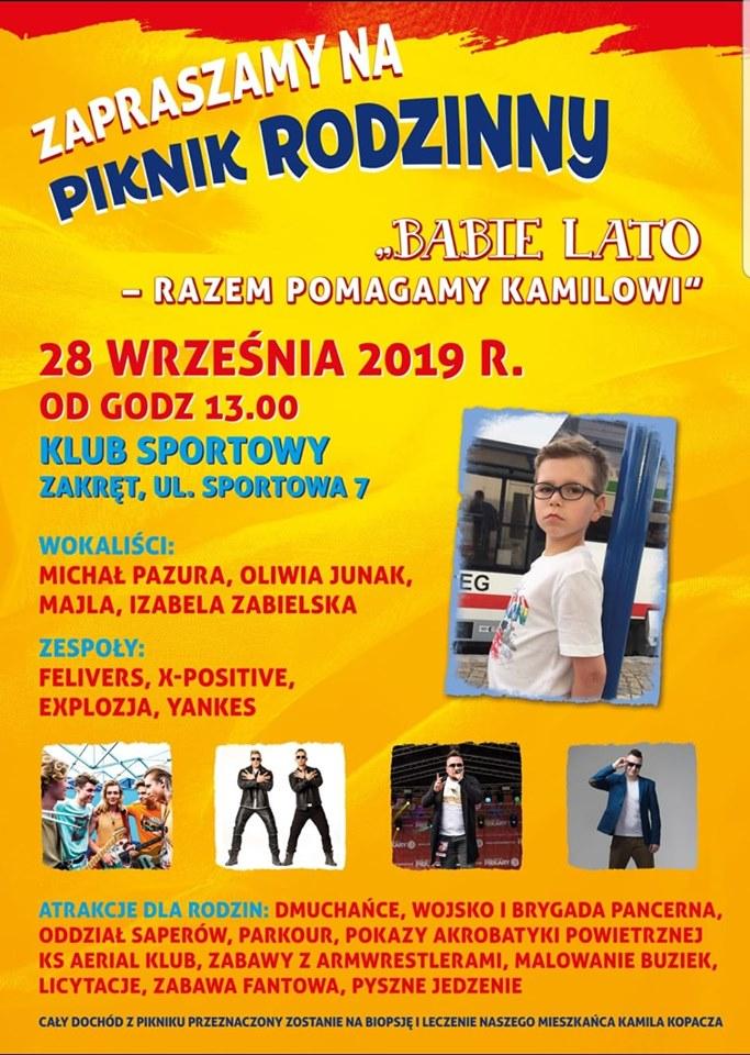 Plakat pikniku rodzinnego, który odbędzie się 28 września 2019 roku w Zakręcie