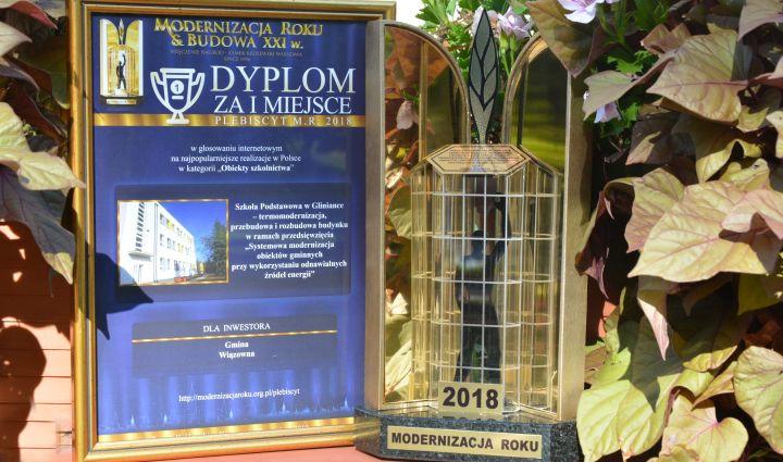Statuetka i dyplom w konkursie Modernizacja Roku 2018
