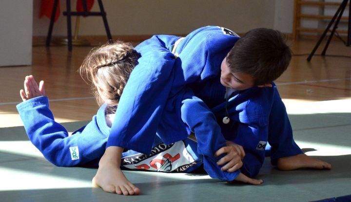 Pokaz jiu jitsu w szkole podstawowej w Zakręcie