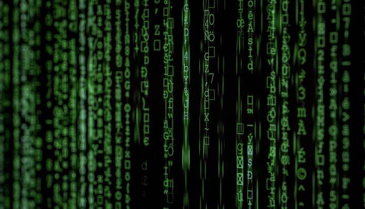 Źródło danych w sieci. Czarne tło, zielone dane w rzędach koło siebie, spływające od góry do dołu