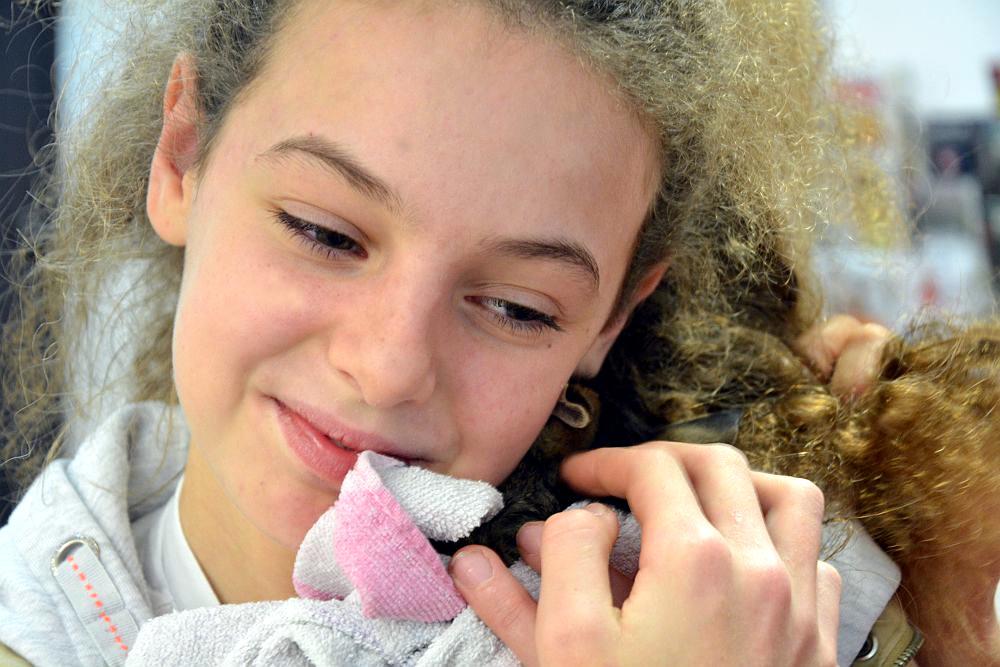 Dziewczyna z kręconymi włosami. Dziewczyna przytula małe kotka