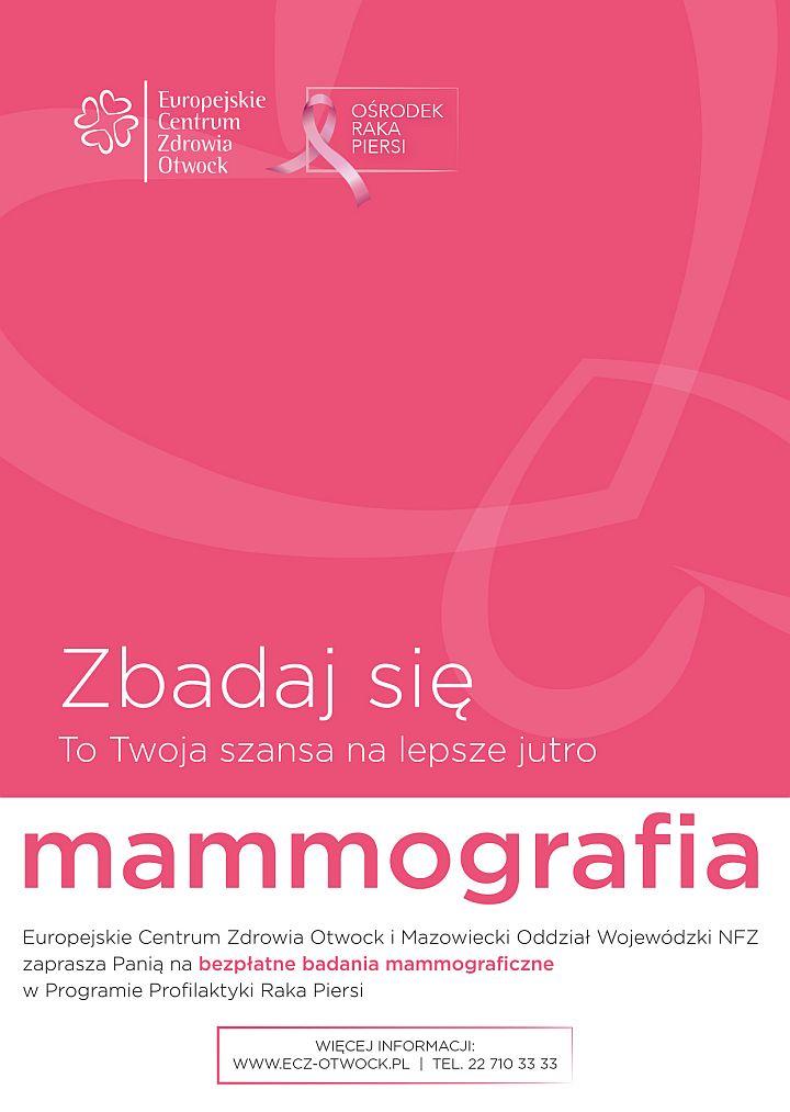 Plakat o bezpłatnym badaniu mammograficznym dla kobiet w Otwocku