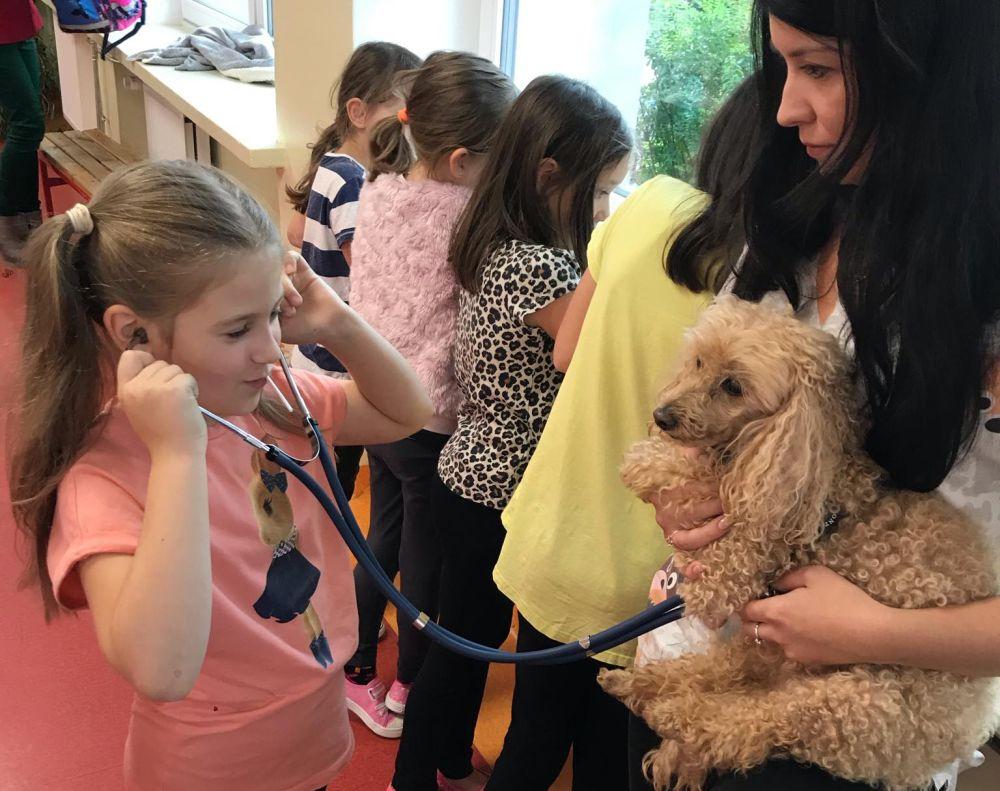 Szkoła Podstawowa w Wiązownie. Spotkanie dzieci ze zwierzętami