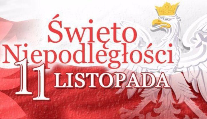 Święto Niepodległości 11 listopada - napis, w tle orzeł w koronie