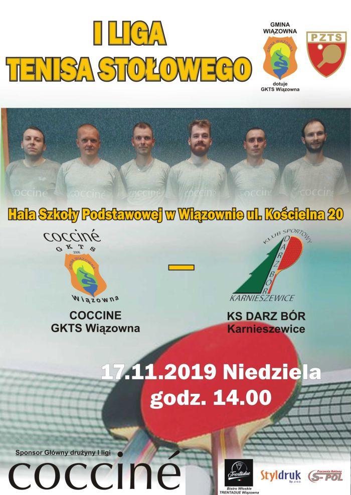 Plakat I ligi tenisa stołowego. Mecz 17 listopada