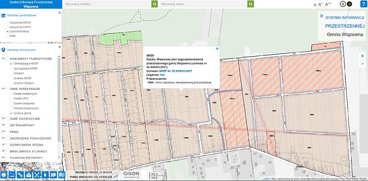 Zrzut z portalu mapowego gminy wiązowna