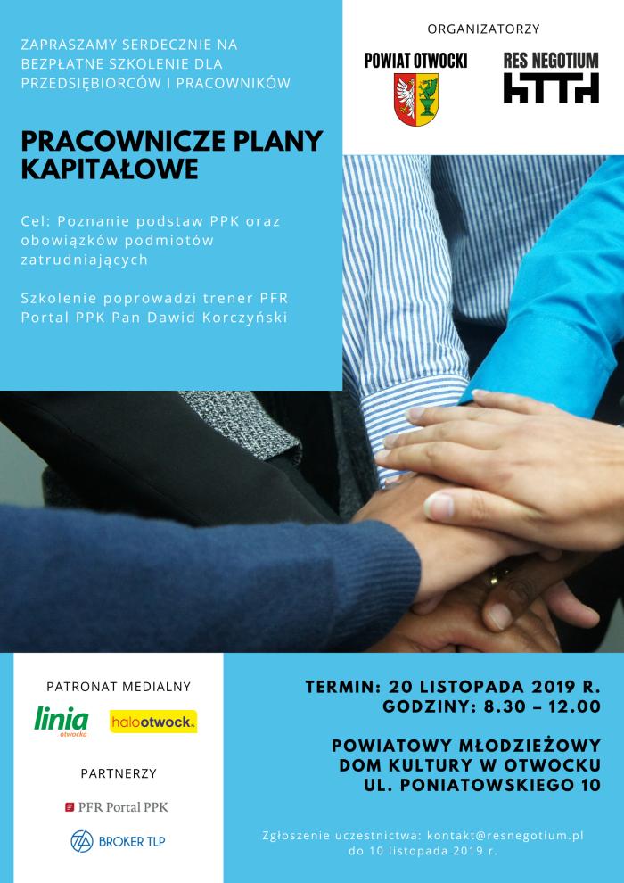 Plakat zapraszajacy na szkolenie 20 listopada z Pracowniczych Planów Kapitałowych