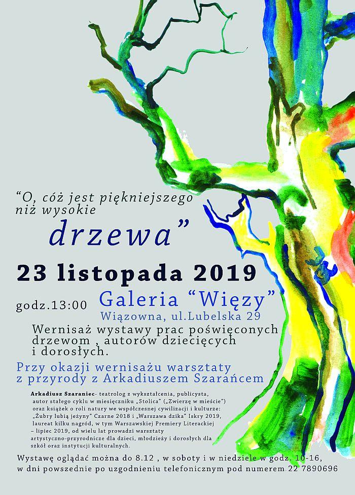 Plakt wystawy prac na temat dPlakat wystawy prac na temat drzew w galerii Więzyzew w galerii Więzy