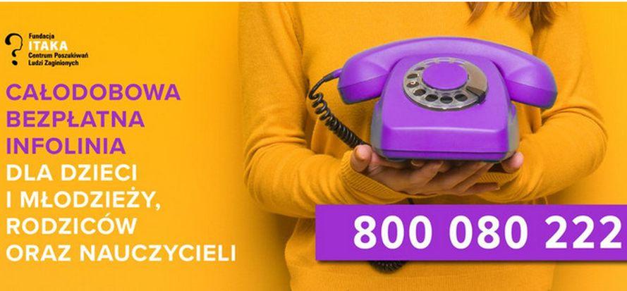 Plakat infolinii 800 080 222, gdzie można zadzwonić po pomoc
