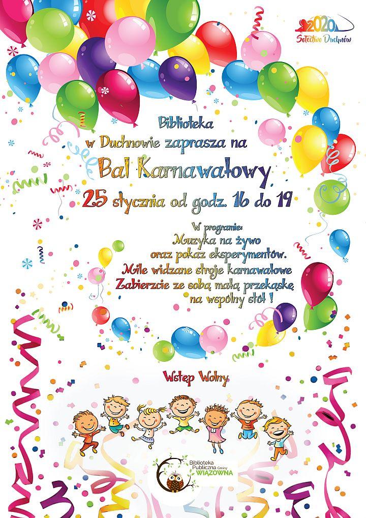 Plakat Balu Karnawałowego dla dzieci w Duchnowie, który odbędzie się 25 stycznia