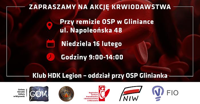 Plakat zapraszajacy na akcję honorowego krwiodawstwa w Gliniance