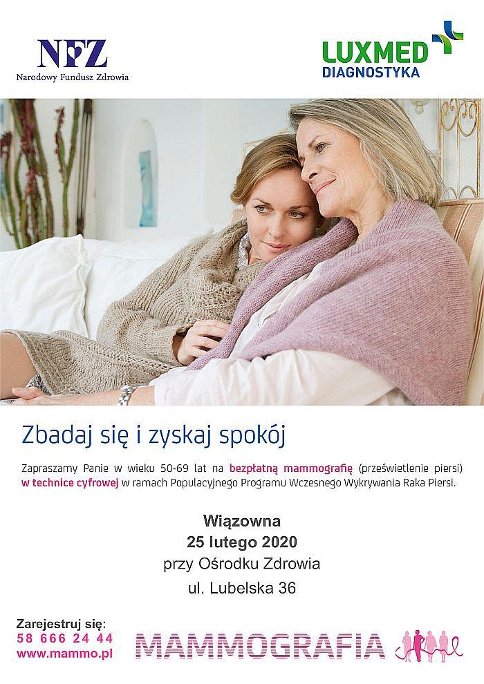 Plakat informującym o bezpłatnym badaniu mammograficznym 25 lutego 2020 roku w Wiązownie