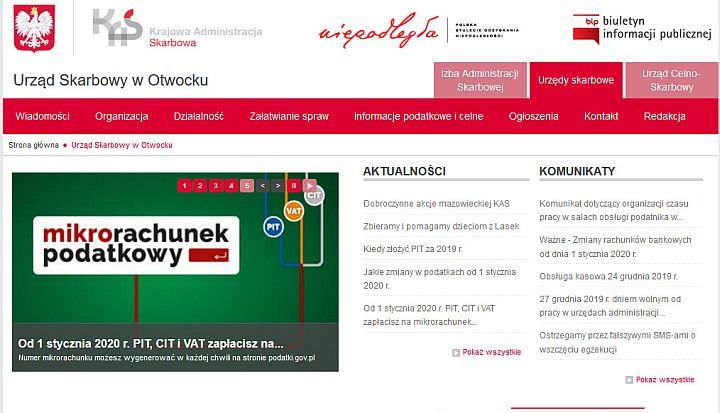 Zrzut strony głównej Urzędu Skarbowego w Otwocku
