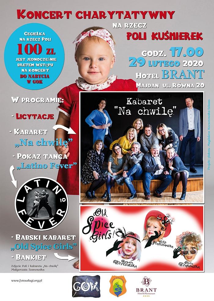 Plakat Charytatywnego Koncertu dla Poli, który odbędzie się 29 lutego w Majdanie