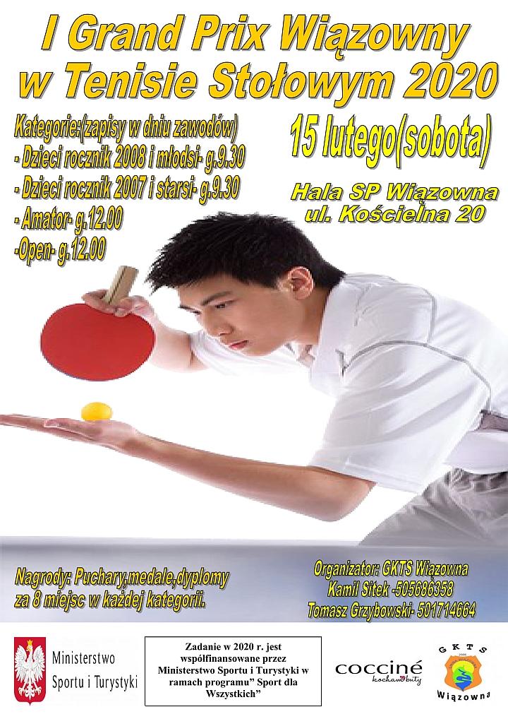 Plakat turnieju tenisa stołowego, który odbędzie się 15 lutego w Szkole w Wiązownie