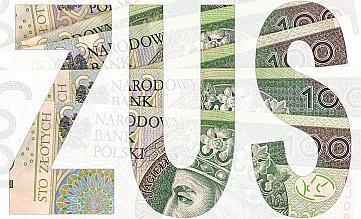 Napis ZUS. POd spodem zdjęcie 100 złotowych banknotów