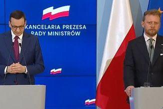 Od lewej: premier Mateusz Morawiecki i minister zdrowia Łukasz Szumowski