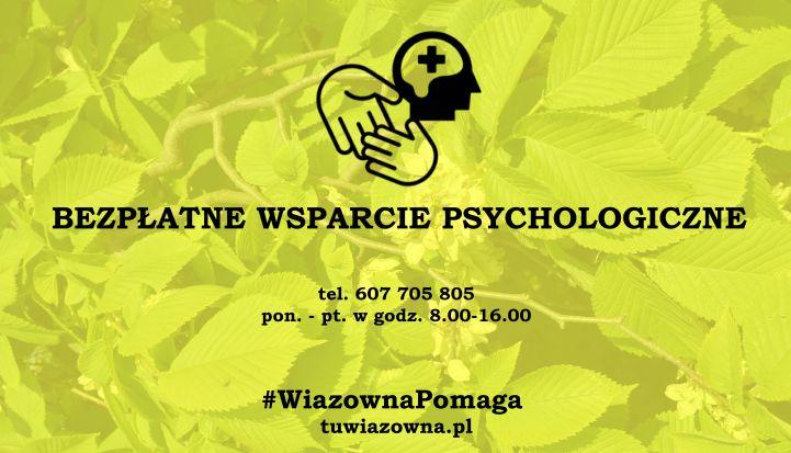 Baner z napisem bezpłatne wsparcie psychologa. W tle liście wiązu. nad napisem grafika - dwie ręce i głowa