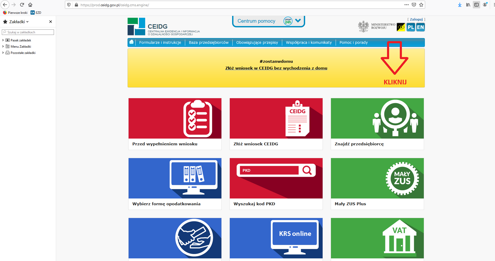 Screen strony z dostępem do CEIDG