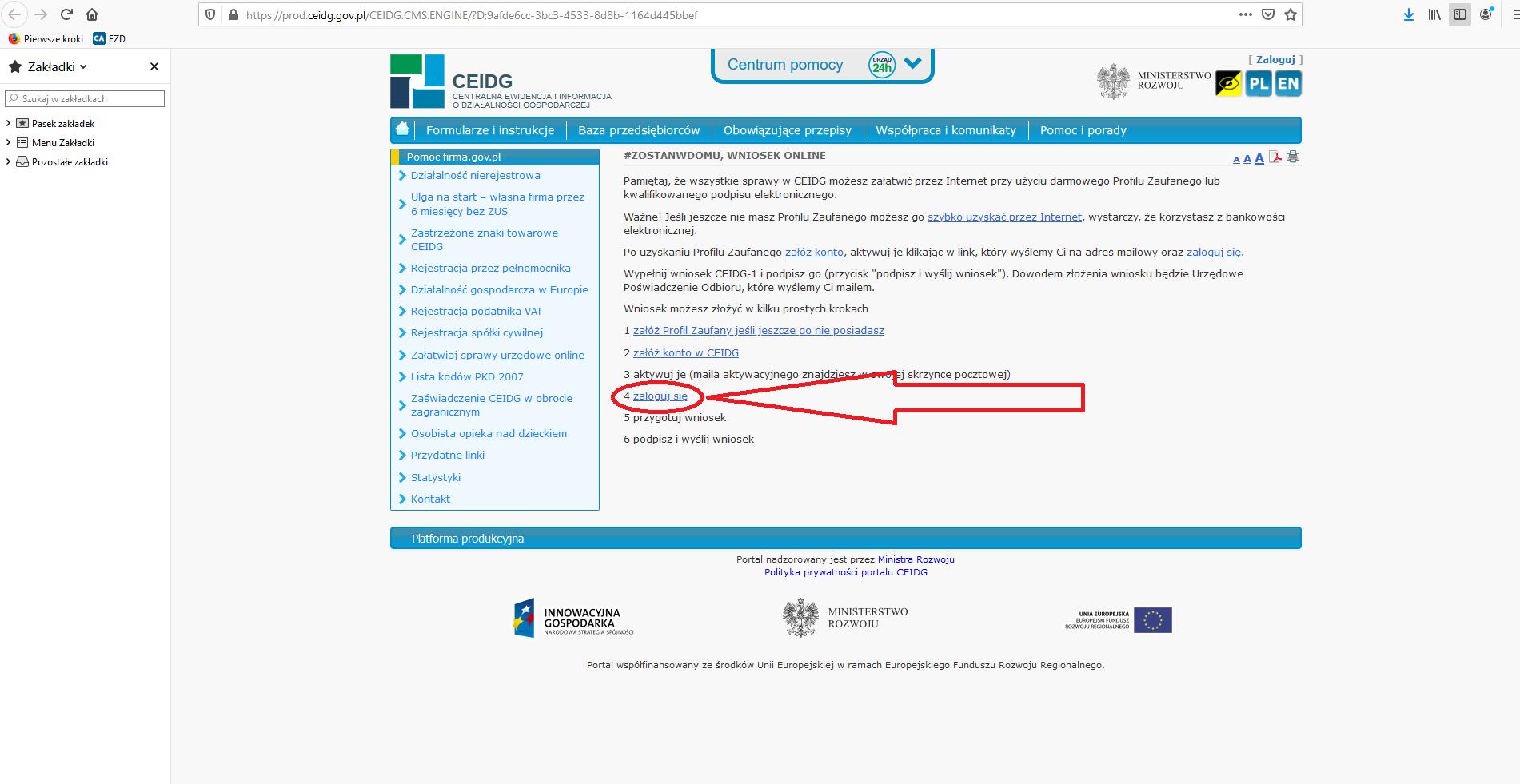 Screen strony z dostępem do CEIDG. Jak się logować