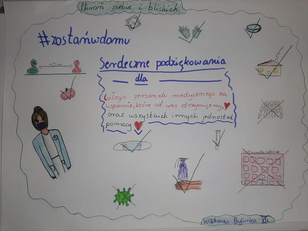 Podziękowania uczniów ze szkoły w Gliniance przygotowane dla pracowników służby zdrowia w postacji namalowanych rysunków