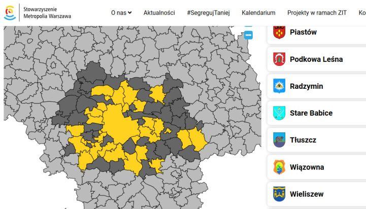 Mapa, na której zaznaczono na szaro i na żółto gminy należące do Stowarzyszenia Metropolia Warszawa