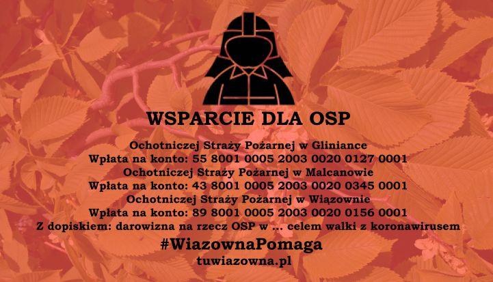 Baner z napisem wpsarcie dla OSP. W tle lisćie wiązu na czerwono, nad napisem czarna grafika strażaka