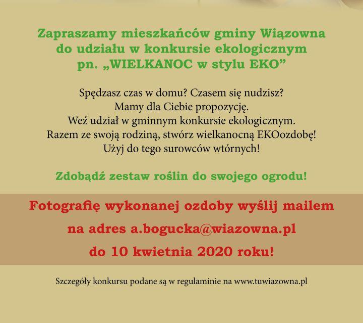 Plakat z opisem konkursu wielkanocna ozdoba w stylu Eko