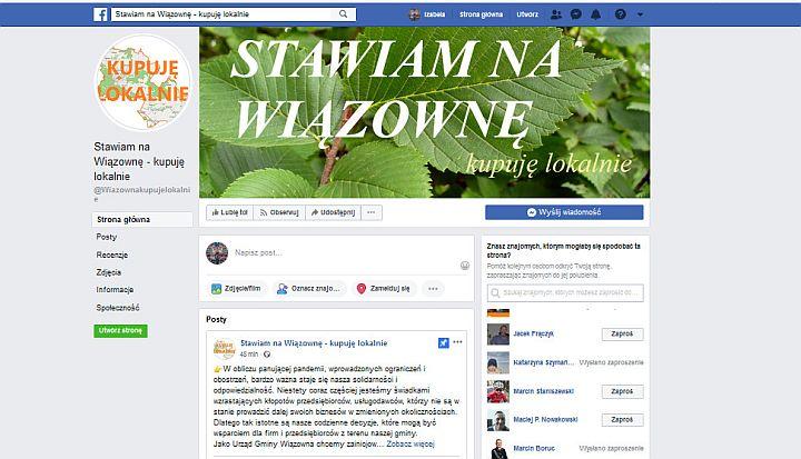 Sreen nowego profilmu gminy Stawiam na Wiązownę - kupuję lokalnie