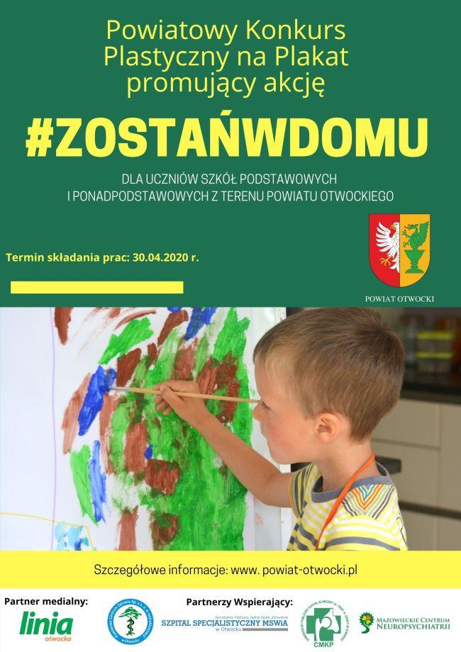 Plakat konkursu na pracę plastyczną akcji #zostańwdomu