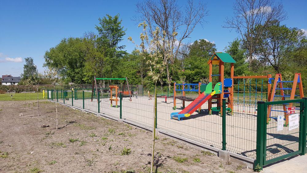 Młode drzewka posadzone w Dziechcińcu przy placu zabaw