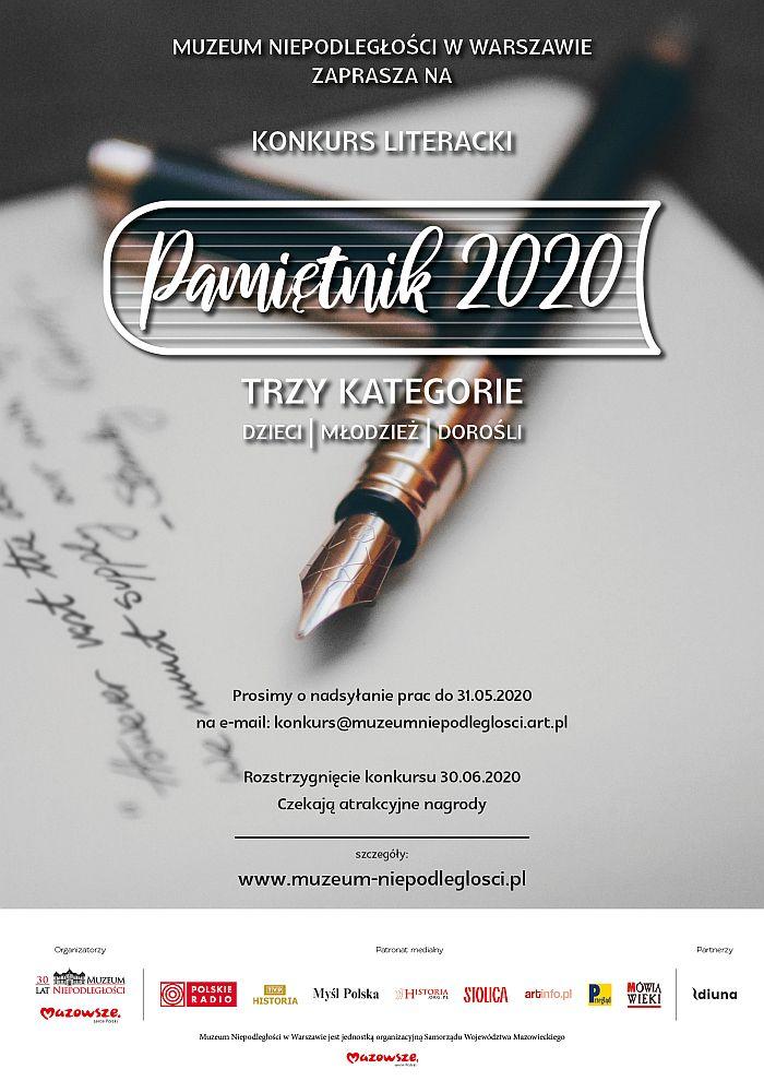 Plakat Muzeum Niepodległości dotyczący konukrsu na Pamietnik 2020